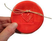 Red Ring Bearer Dish Wedding HEart Love