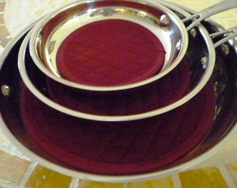 Fry Pan Protectors - Fry Pan Cozy - Burgundy - No More Scratches Fry Pan Storage - Set of 3 sizes - Machine Washable