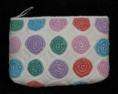 Vintage 1980s WOVEN Natural Fiber Rainbow CLUTCH Bag Purse Resort Summer Pouch
