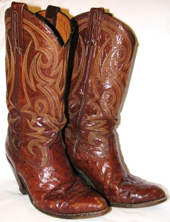 vintage 1970s 80s s ostrich skin cowboy by