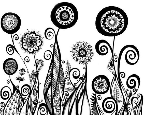 Abstract Line Drawing Flowers : Unavailable listing on etsy