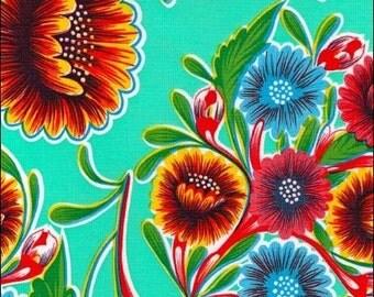 Round Bloom Aqua Oilcloth Tablecloth