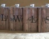 Monogrammed Men's Gift Set of 4 Old Barnwood Print Rustic Country Western Wedding Gift 8 oz. Stainless Steel Flask KR2D 7642
