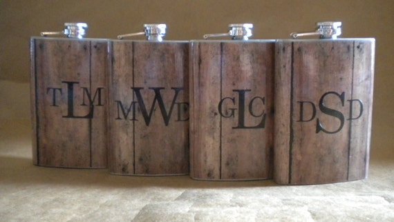 manogrammed western wedding favor flasks