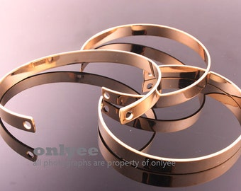 2PCS-66mmX6.5mmHigh Quality Nickel Free And Lead Free Gold Plated Brass Blank Bangles of Deco Bracelet (E339G)