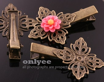 10PCS-50mmX35mm Antique Bronze Flower Filigree Pad With Alligator Hair Clips with Teeth(E340)