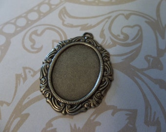 Vintage Inspired 18X13mm Antiqued Brass Swag Design Setting - Qty 2