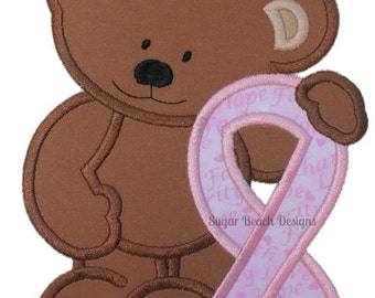 Awareness Bear Applique Embroidery Design - (95)