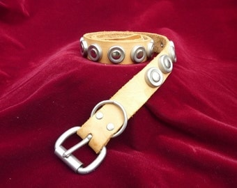 Vintage Leather Silver studded Belt Palomino Tan Brown Festival Accessory Coachella Western Wear
