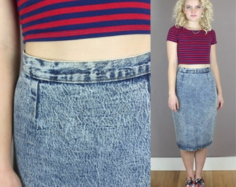 Vintage 1980s High Waisted Acid Wash Skirt