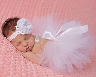 White Newborn Tutu, Tutu and vintage style headband, newborn photography prop, baby tutu, newborn tutu