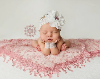 Newborn Photography Prop, Newborn headband, Newborn wristlets and headband set, baby photography prop, vintage headband
