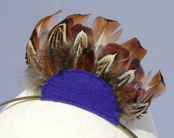Feather Headband Blue Semicircle