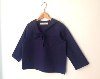 RIG-SHIRT AHOI, Navy-Blue, Unicolor,Children's and Babies' Sailor Shirt Long Sleeves, Sailor Collar,Wide Loose Fit, Maritime Baptism