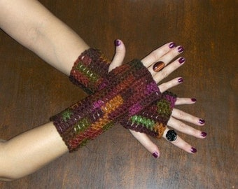 Fingerless Gloves The Cherry Cola Gloves bohochic  Texting Gloves. Handmade Rustic cola fall Maroon Red rustic autumn