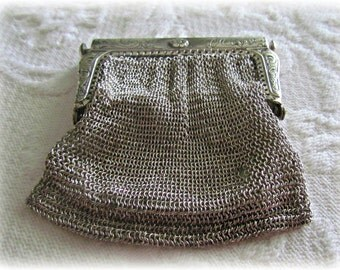 SALE!! Antique Mesh Coin Purse Silver/Germany