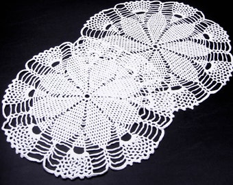 Crocheted Round Doily Pair 12 and 13 Inch Petals Pattern Handmade in White