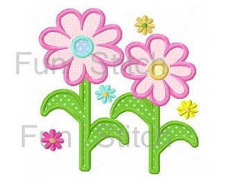 daisy flowers applique machine embroidery design instant download