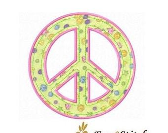 Peace sign applique machine embroidery design
