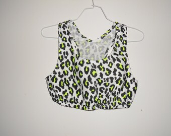 Womens leopard print sports bra any size