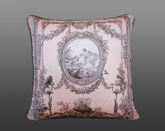 Baroque Pillow - Pink/Grey