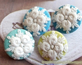 Fabric Covered Buttons - Shabby Chic Embroidery Vintage Classic Romantic Rose Garden, Blue Teal Grass Green Colorway (4Pcs, 1.1 Inch)