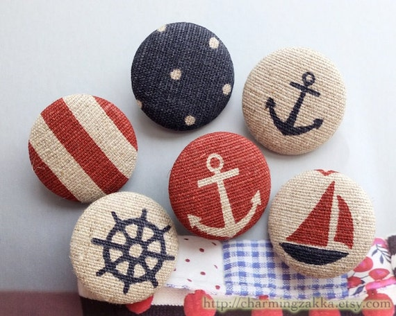 Fabric Covered Buttons (L) - Nautical Marine, Anchor, Rudder and Sailing Boat Stripe Dots Patchwork (6Pcs, 1.1 Inch)