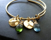 Family initial bangles, Friendship, sisters, gold expandable bangle bracelet, initial charm bracelet