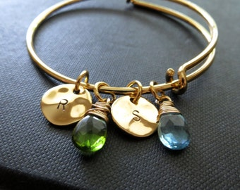 Family initial bangles, Friendship, sisters, gold expandable bangle bracelet, initial charm bracelet