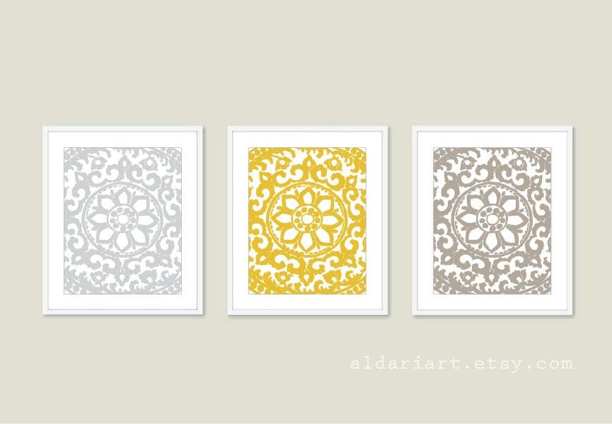 Modern Flower Medallion Art Prints Unique Wall Art Soft Taupe Mustard Yellow Soft Grey