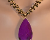 LP 1167  ON Hold  Gorgeous Purple Sugilite Pendant, Hand Wrapped Vermeil And Pyrite Chain Necklace