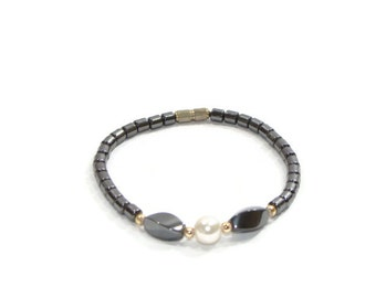 Vintage Slate Grey Beaded Bracelet