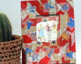 Stars stripes frame hand painted original collage reuse wide border wood frame red white blue