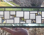 """Pale Blue-Frosted-Amber Geometric--5"""" x  35""""--Stained Glass Transom Panel"""