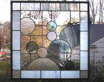 """Nine Circles with Ice Blue within a Grid- 20"""" x 20""""-Stained Glass Window Panel"""