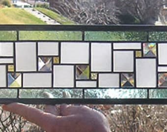 "Pale Blue-Frosted-Amber Geometric--5"" x  35""--Stained Glass Transom Panel"