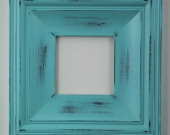 Sizes 8x10 to 12x12 Wood Picture Frame / Shabby Aqua / Cottage Style