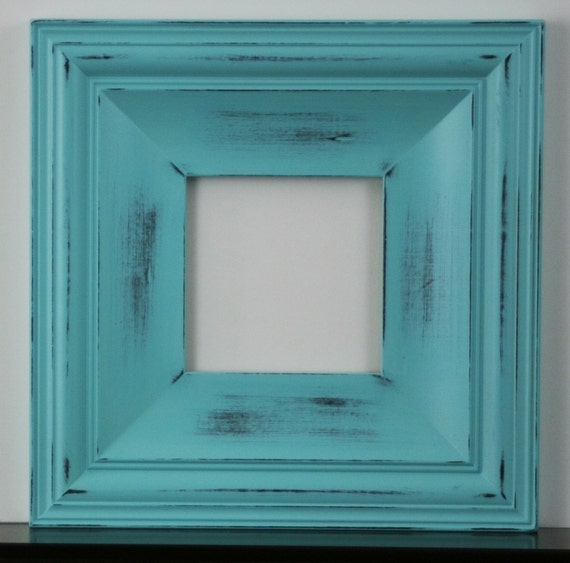 Sizes 8x10 to 12x12 wood picture frame shabby aqua for Bungalow style picture frames