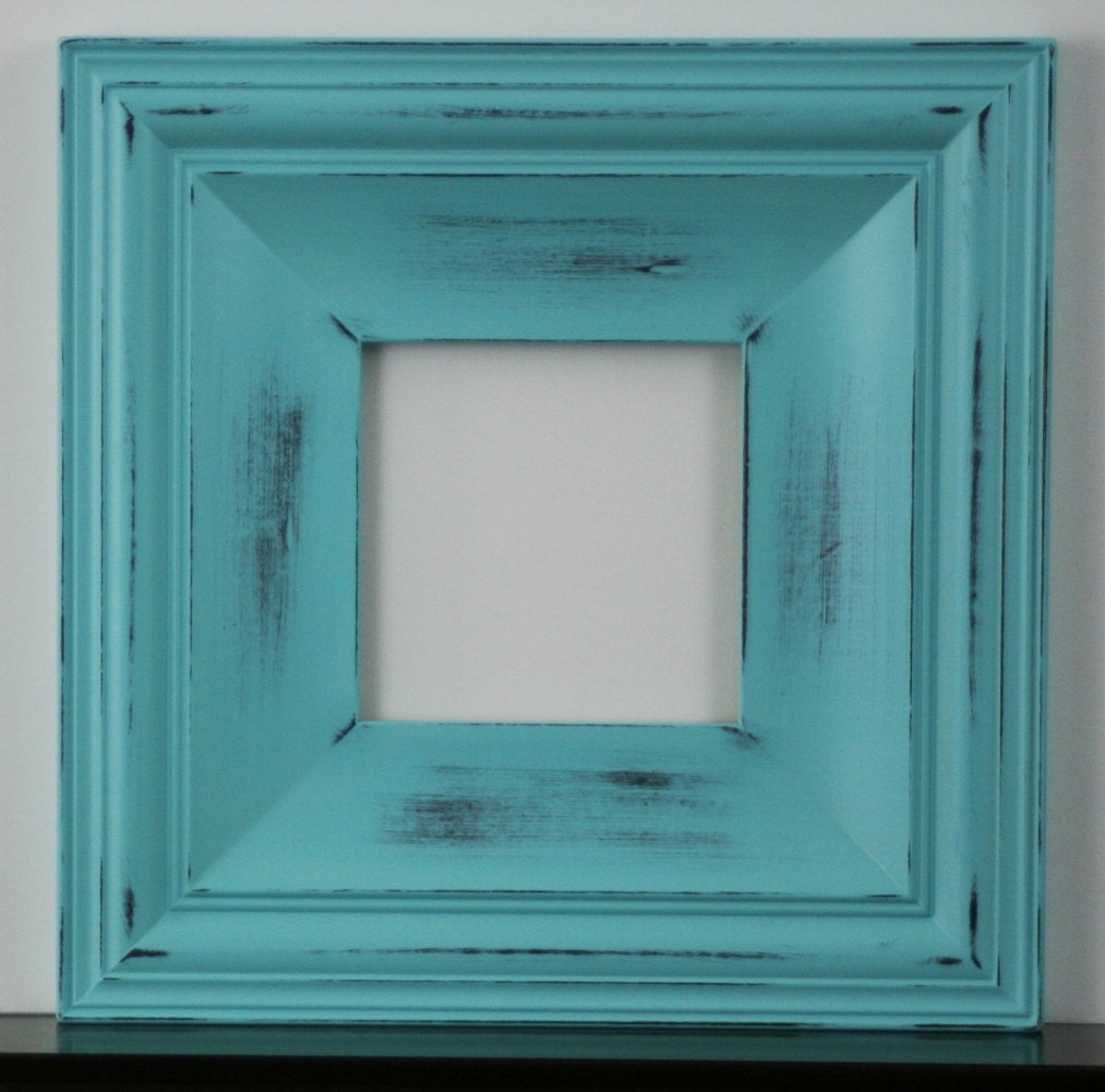 Sizes 12x16 to 16x20 wood picture frame shabby aqua for Bungalow style picture frames