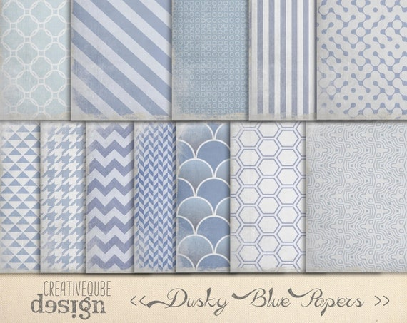 Digital Paper Pack - Digital Scrapbook Papers - Worn Dusty Blue textured, shabby chic.
