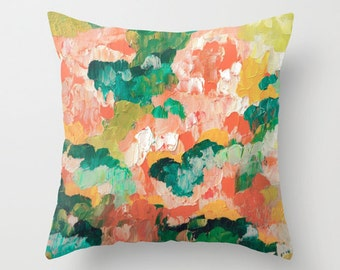 Throw Pillow Flower Forest Peach Floral Artwork printed on Pillow Unique Throw Pillow COVER ONLY