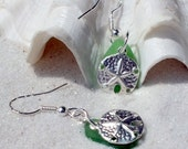 Sea Glass Jewelry  - Sterling Pierced Earrings - Sterling Starfish - Lake Erie Beach Glass