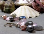 Jens Earrings - Sterling Silver, Labradorite, Pink Pearls, Grey Pearls and Rose Quartz