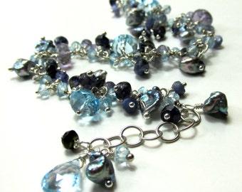 LIght and Dark Blues ~ Artisan Handmade Chain Bracelet, Sterling Silver, Swiss Blue Topaz, Iolite, Tanzanite, and Keishe Pearls
