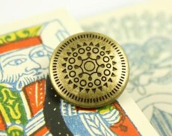 Metal Buttons - Sun Mandala Metal Buttons , Antiqued Brass Color , Shank , 0.71 inch , 10 pcs