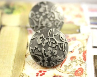 Metal Buttons - Flower Foliage Metal Buttons , Gunmetal Color , Shank , 0.59 inch , 10 pcs