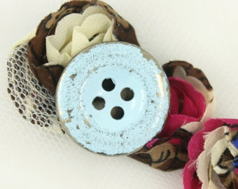 Metal Buttons - Light Blue Painting Metal Buttons , Silver Color , 4 Holes , 0.79 inch , 10 pcs