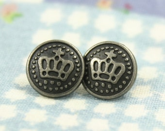 Metal Buttons - Victorian Crown Metal Buttons , Nickel Silver Color , Shank , 0.35 inch , 10 pcs