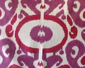 FABRIC SQUARE pillow front/dining chair upholstery 27x27 IKAT radiant orchid/ violet/ fuscia linen