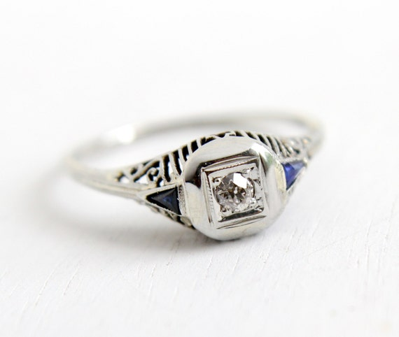 sale antique 14k white gold sapphire by